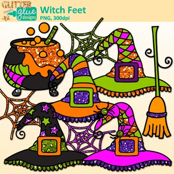Halloween Clip Art {Witch Feet, Spider Web, Bat, Cat, Hat, Cauldron, and Broom}