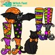 Halloween Clip Art | Witch Feet, Spider Web, Bat, Cat, Hat, Cauldron and Broom