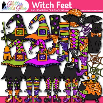 Witch Feet Halloween Clip Art - Witch Hat, Bat, Cauldron, Broom