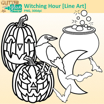 Witch Halloween Clip Art {Great for Worksheets & Handouts} B&W