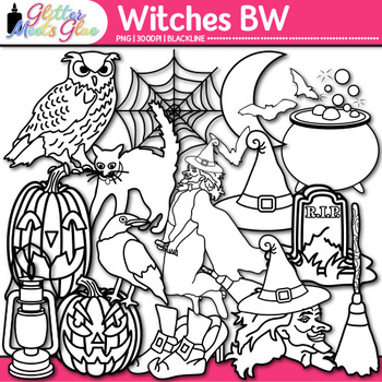 Witch Halloween Clip Art | Great for Worksheets & Handouts | B&W