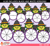 Witch Halloween Spinners Clip Art