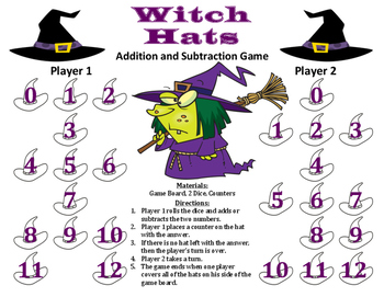 Witch Hats - A Halloween Addition and Subtraction Game
