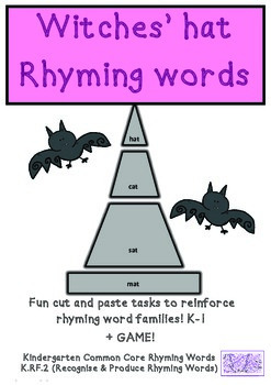Halloween Witch Hats Common Core Rhyming  K.RF.2 Cut & Paste & Game Printables