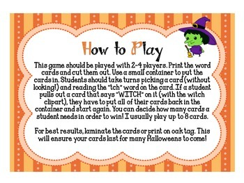 "Witch Hunt: A Halloween ""tch"" Phonics Game"
