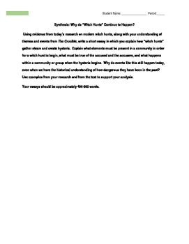 Witch Hunts Webquest (The Crucible)