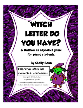 """Witch"" Letter Do You Have? Alphabet game(color only)"