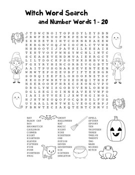 """""""Witch & Number Words"""" – Word Search – Halloween Fun! (Black Line Version)"""