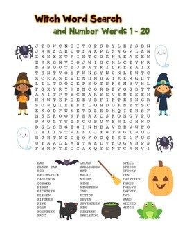 """Witch & Number Words"" – Word Search – Halloween Fun! (Black Line and Color)"