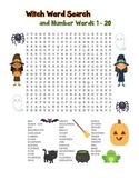 """""""Witch & Number Words"""" – Word Search – Halloween Fun! (Full Color Version)"""