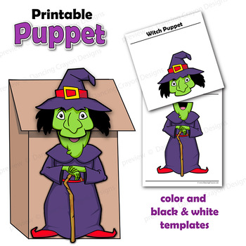Witch Craft Activity | Printable Paper Bag Puppet Template