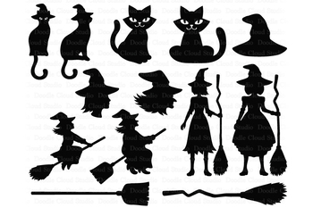 Witch Svg Halloween Svg Halloween Witch Broom Witch Hat Black Cat Svg Png