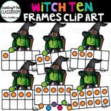 Witch Ten Frames Clip Art  {Halloween Clip Art}