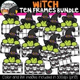 Witch Ten Frames Clipart Bundle {Halloween Clipart}