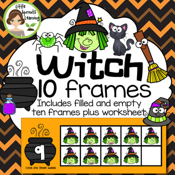 Witch Ten Frames (includes worksheet) Great for Halloween Math Centers!