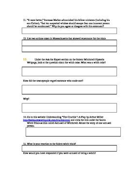 Witch Trials Websearch / WebQuest