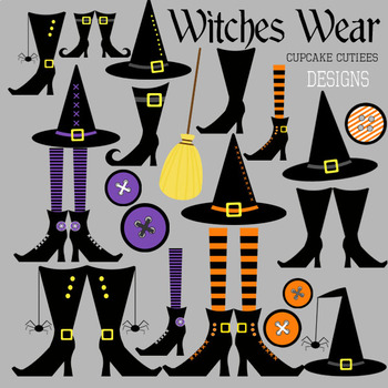 Witch Wear Feet Halloween Clip Art Illustration Digital Graphics -Commercial Use