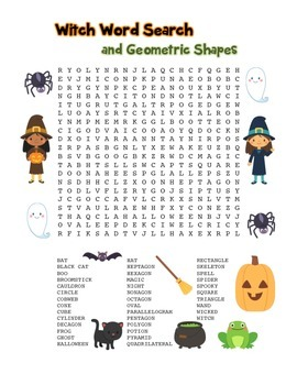 """""""Witch Words & Geometric Shapes"""" – Word Search – FUN! (Black Line & Color)"""