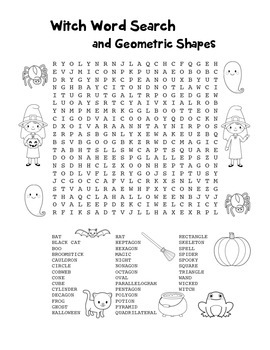 """Witch Words & Geometric Shapes"" – Word Search – FUN! (Black Line & Color)"