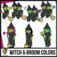 Witch and Broom Color-Matching Clip Art