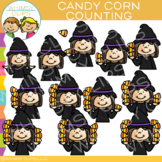 Witch and Candy Corn Counting Clip Art