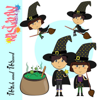 Witch and Wizard Kids Clipart- (Halloween Clip Art)