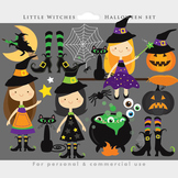 Witch clipart - Halloween clip art, witches, cute, broomstick, moon, black cat