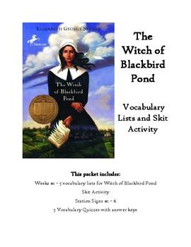Witch of Blackbird Pond Skits, Vocabulary Lists, Quizzes with Answer Keys Bundle