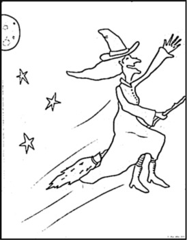 Witch on a Broomstick Coloring Page - Halloween