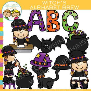 Witch's Alphabet Brew Halloween Clip Art