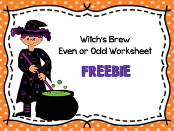 Witch's Brew Even or Odd Worksheet