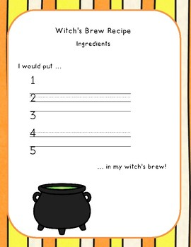 Witch's Brew Graphing and Writing Activity
