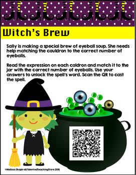 Halloween Math Center-Witch's Brew Addition