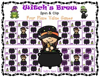 Witch's Brew Spin & Clip - 4 Place Value Games