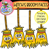 Witch's Broom Faces: Halloween Clipart {DobiBee Designs}
