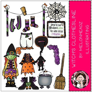 Witch's Clothesline clip art - COMBO PACK- by Melonheadz