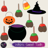 Witch's Sweet Tooth Candy Halloween Clip Art for Personal Or Commercial Use