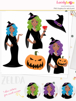 Witch woman character clipart, halloween girl clip art (Zelda L330)