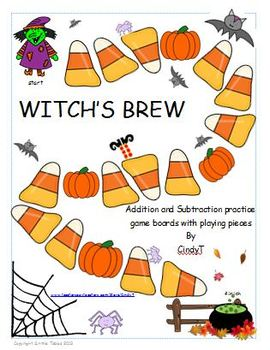 Witches Brew-- Addition and Subtraction game boards