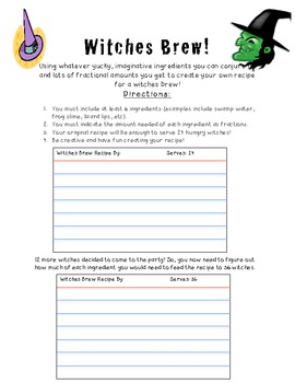 Witches Brew - Creating recipes using fractions