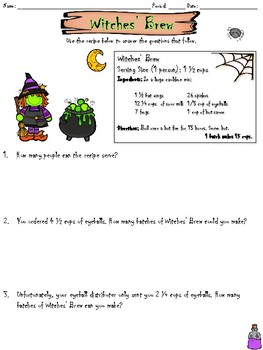 Witches' Brew - Multiplying and Dividing Fractions