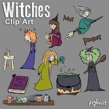 Witches Clipart, Macbeth Clip Art, Cauldron, Spell Book, Potions, Halloween