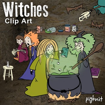 Witches Clipart, Macbeth Clip Art, Cauldron, Spell Book, P