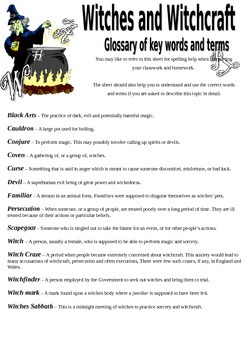 Witches Key Words and Terms Handout