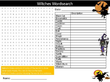 Witches Wordsearch Puzzle Sheet Starter Activity Keywords Halloween Superstition