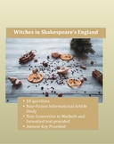 Witches in Shakespeare's England: Macbeth Text Connection