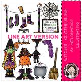 Witch's Clothesline clip art - LINE ART- by Melonheadz