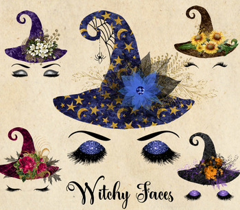 Witchy Faces - Halloween Glam Witch clipart, witch hats, flowers and eyes