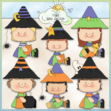 Witchy Girls Clip Art - Witch Clip Art - Halloween Clip Ar