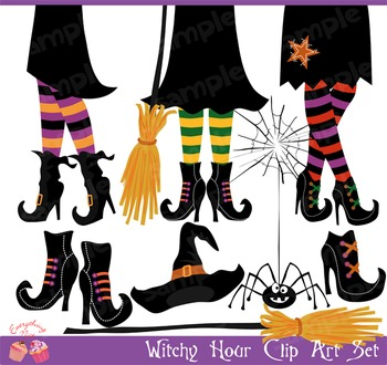 Halloween Witchy Hour Witches Shoes Clipart Set